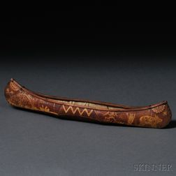 Birch Bark Model Canoe Attributed to Tomah Joseph