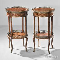 Pair of Louis XVI-style Kingwood-veneered Guéridons