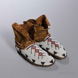 Blackfeet Beaded Buffalo Hide Moccasins