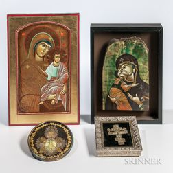 Four Painted Wood, Beadwork, and Metal Religious Items