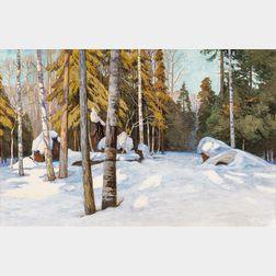 Walter Launt Palmer (American, 1854-1932)    Winter Woodlands