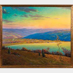 William Charles Baker (American, 1872-1958)    Autumnal Landscape at Sunset