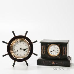 Schatz Ship's Bell and Belgian Slate Mantel Clock