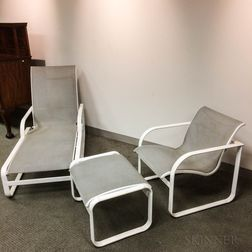 White-painted Metal Patio Lounge Chair, Armchair, and Footstool.     Estimate $50-75