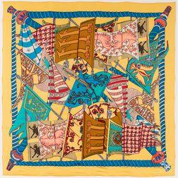 "Framed Hermes ""Etendards et Bannieres"" Yellow Silk Scarf"