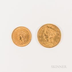 1861 New Reverse $2.50 Liberty Head Gold Coin and an 1857 Gold Dollar.     Estimate $300-500