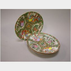 Three Chinese Export Rose Medallion Porcelain Plates.