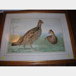 Two Framed A. Pope, Jr. Chromolithographs of Game Birds, a Chromolithograph Still Life of Peaches and a Provincial Landscape,...