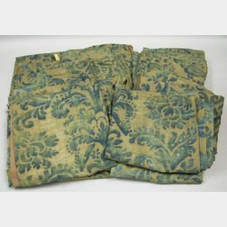 Six Pairs of Fortuny Printed Linen Drapery Panels