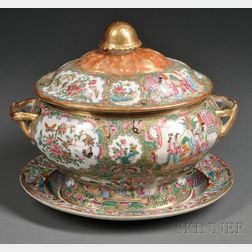 Rose Medallion Porcelain Tureen with an Undertray