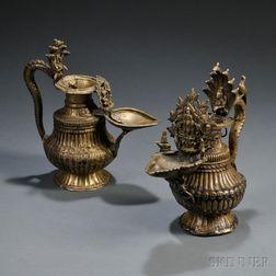 Two Brass Sukunda   Oil Lamps