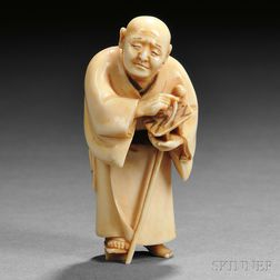 Ivory Netsuke of a Priest