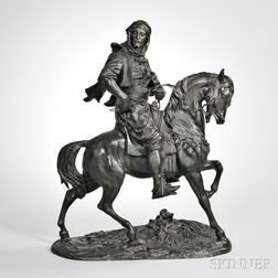 After Alfred Barye (France, 1839-1882)       Bronze Arab Cavalier