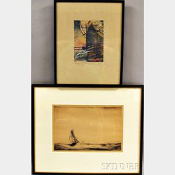Two Framed Etchings on Sailing Themes:      Nell Brooker Mayhew (American, 1876-1940) Homeward Bound