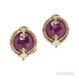 18kt Gold and Ruby Earclips