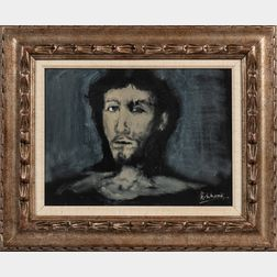 Henry Schwartz (American, 1927-2009)      Head of a Bearded Man in Gray and Black