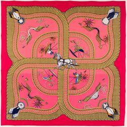 "Framed Hermes ""Voitures Paniers"" Hot Pink Silk Scarf"