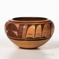 Contemporary Hopi Polychrome Pottery Bowl