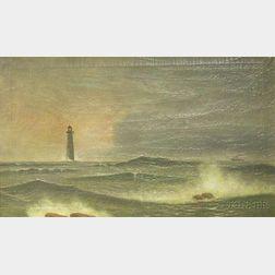 Framed 19th Century American School Oil on Canvas, Purportedly Minot Light, Cohasset, Massachusetts
