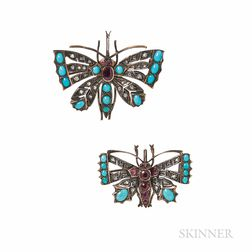 Two Gem-set Butterfly Brooches