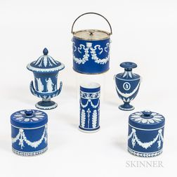 Six Wedgwood Dark Blue Jasper Items