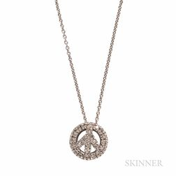 """Roberto Coin 18kt White Gold and Diamond """"Tiny Treasures"""" Peace Sign Pendant"""