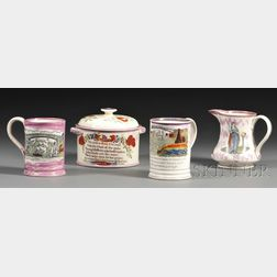 Four Sunderland Transfer and Lustre Decorated Pottery Items