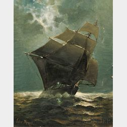Attributed to Edward Moran (American, 1829-1901)      Ship Under Sail in the Moonlight.