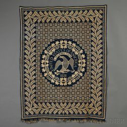 """Woven Wool and Cotton Coverlet Depicting the """"Great Seal"""" of the United States"""