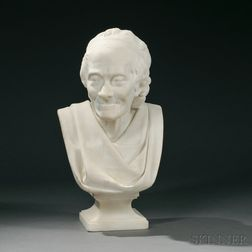 After Jean-Antoine Houdon (French, 1741-1828)       White Marble Bust of Voltaire