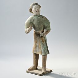 Large Painted Pottery Figure of a Foreign Groom
