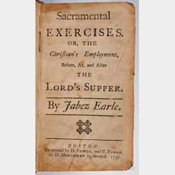 Earle, Jabez (1676?-1768) Sacramental Exercises.