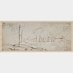 Elizabeth I, Queen of England (1533-1603) Clipped Signature.
