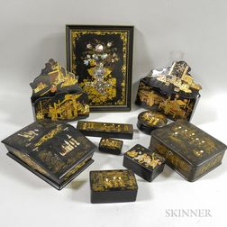 Ten Lacquered and Mother-of-pearl-inlaid Chinoiserie-decorated Items
