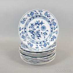 Set of Ten Meissen Blue Onion Porcelain Dinner Plates