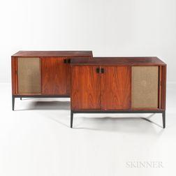 Two Custom Solid Teak Stereo Cabinets with Vintage Vitavox DU 120 Speakers