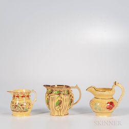 Three Yellow-glazed Staffordshire Jugs