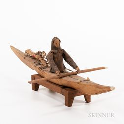 Model Eskimo Kayak with Figure