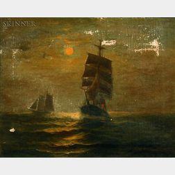 Charles Drew Cahoon (American, 1861-1951)    Moonlit Sail