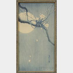 Ohara Shoson: Plum Blossom Branch Across a Full Moon