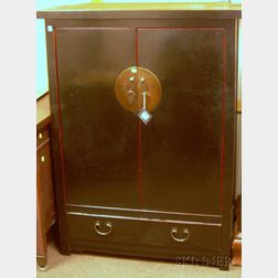 Chinese Black Lacquer Two-Door Side Cabinet
