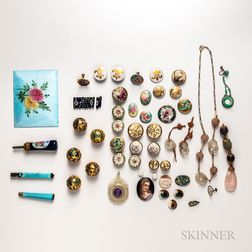 Group of Enamel and Hardstone Jewelry and Accessories