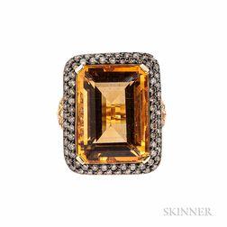 18kt Gold, Citrine, Yellow Sapphire, and Diamond Ring