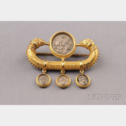 Etruscan Revival 18kt Gold and Silver Classical Coin Brooch