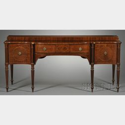 Scottish Georgian Inlaid Mahogany Bowfronted Stage-top Sideboard