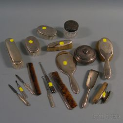 Seventeen-piece Assembled Sterling Silver-mounted Dresser Set