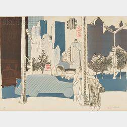 Fairfield Porter (American, 1907-1975)      Street Scene