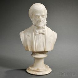 American School, 19th Century       Alabaster Bust of Emerson