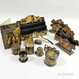 Fourteen Lacquered Chinoiserie-decorated Desk Accessories.