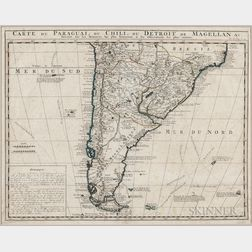 South America. Henry Abraham Chatelain (1684-1743) Carte du Paraguai, du Chili, du Detroit de Magellan.